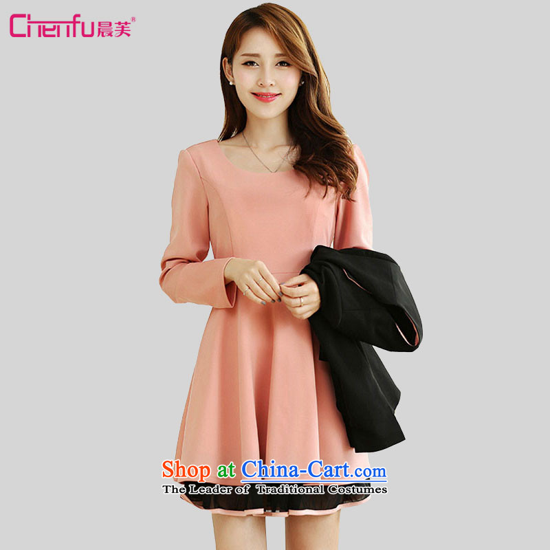 Be 2015 autumn morning new 2 catty to increase women's code thick mm long-sleeved gentlewoman Sau San video thin dresses pure colors with Lotus Pink dresses聽5XL recommendations 180-200 catty