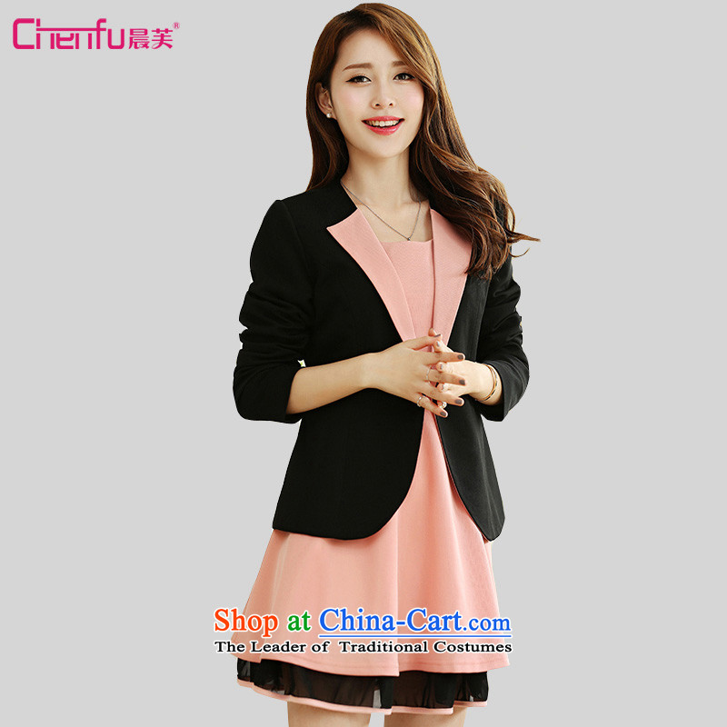Morning to load the new 2015 Autumn Korean Version to increase women's燽urden of code 200 mm thick a grain shortage of detained plane collision lapel color graphics and skinny Sau San jacket black�L爎ecommendations 165-180 catty
