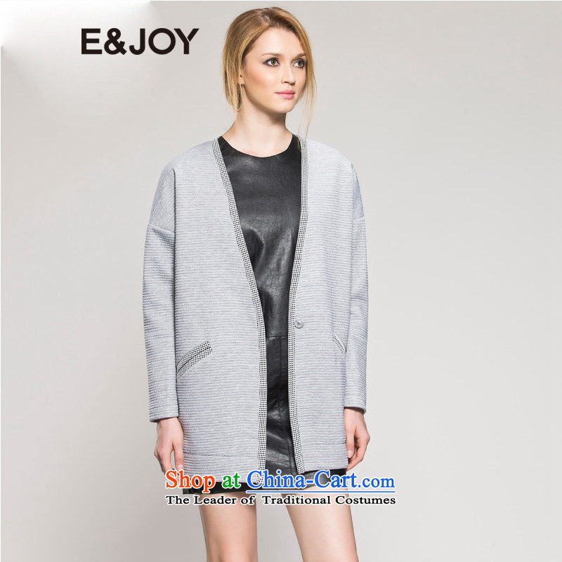 The stylish autumn e_joy V-Neck leisure coats 14083400361 160_36_S Gray