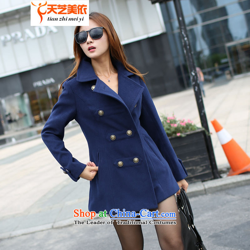 According to the 2014 days Ji-mi Autumn New Sau San temperament gross girls jacket? Long autumn jackets聽1337聽navy blue 1 XL