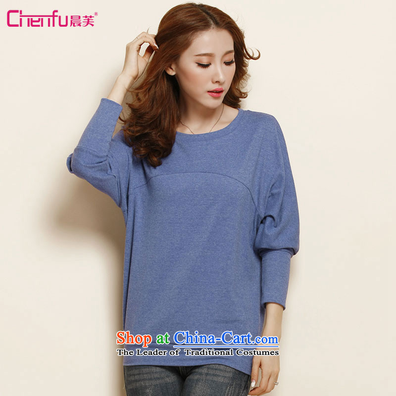 Morning to load the new 2015 Autumn Korean Version to increase women's code thick mm long-sleeved T-shirt female long loose bat sleeves shirt Denim blue blouse, forming the basis for a catty 190-210) 5XL(