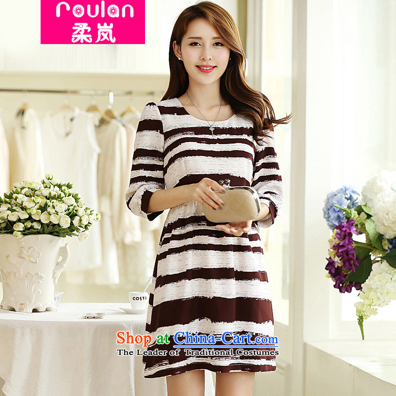 In the autumn of 2015, Sophie female new Korean Edition to increase the number of women with thick MM thin stripes graphics stylish long-sleeved dresses, 2,668 female picture color XL
