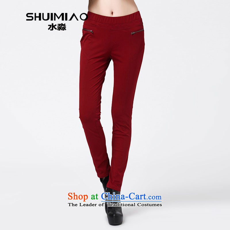 The representative of the water load new Korean autumn version, forming the trousers large trousers Sau San female graphics skinny legs S14QW3538 pants, wine red XL