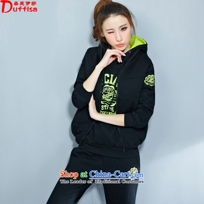 Flower to Isabelle�15 autumn and winter new Korean casual wear kit plus large-thick wool sweater with cap kits D7146 female black-green�L