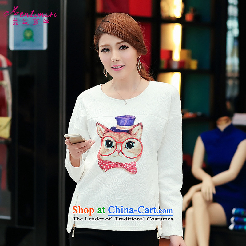 Overgrown Tomb economy honey population fall 2014 replacing the new Korean large sister thick female cartoon long-sleeved T-shirt female clothes1701Large White XXL code