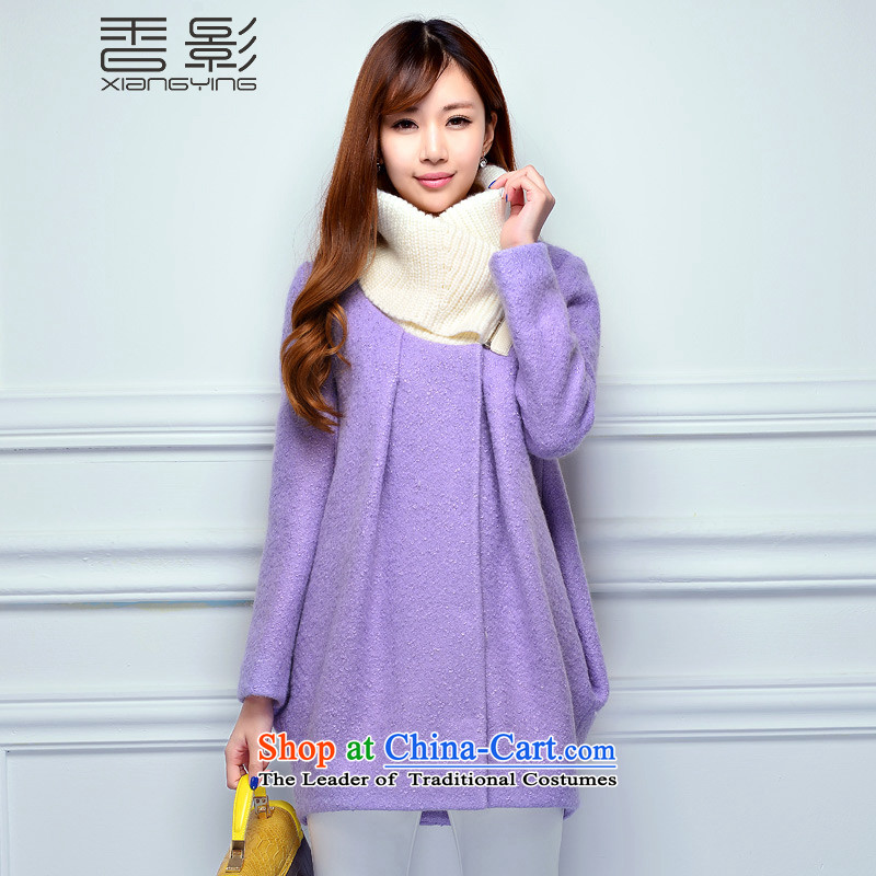 The Champs Elysees shadow gross girls jacket? long coats 2014 new Korean fashion wool a Sau San autumn and winter female purple聽L
