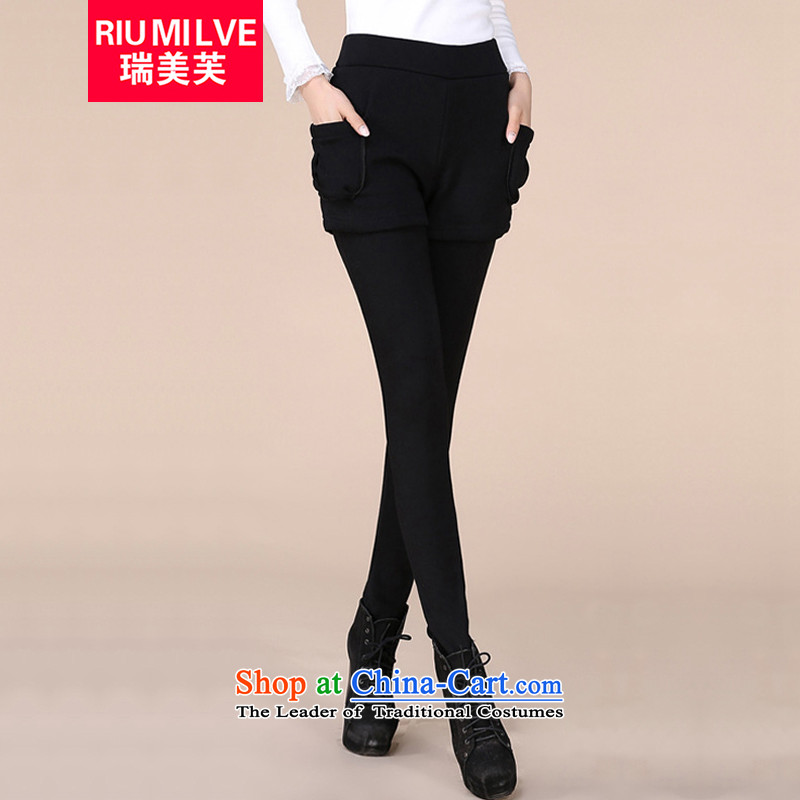 Rui Mei to thick, Hin thin xl women 2105 winter clothing new leave two Sau San plus lint-free warm casual pants, forming the trousers F025 XL_120 black catty -130 catty to pass through_