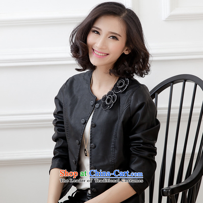The Autumn Women's clothes coat 2015 Sau San large leather jacket PU leather jacket new small Ms. expertise to increase the beauty mm small jacket female black聽XXL, smity minor shopping on the Internet has been pressed.