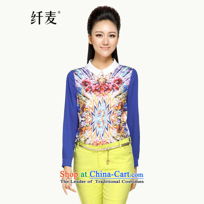In the former Yugoslavia is indeed intensify code mecca for women 2014 Autumn New_ thick and stylish Korean Beauty mm long-sleeved shirt431165XL blue