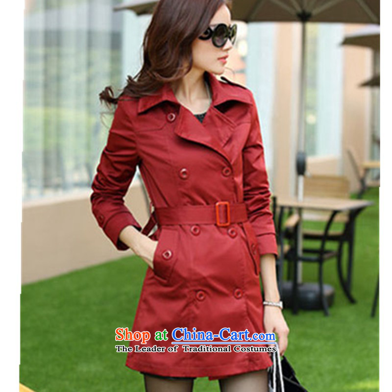 Replace the Spring and Autumn period the new 2015 sister mm thick to xl wind jacket in long thin thick MM Sau San video larger windbreaker female double-jacket redL recommendations 90-120 catty