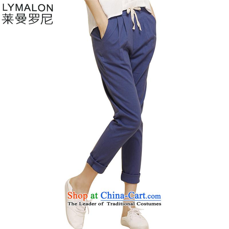 The lymalon lehmann thick, Hin thin 2015 autumn the new Korean version of large numbers of ladies fashion Sau San cotton linen pant Y1126聽XXXXL Denim blue