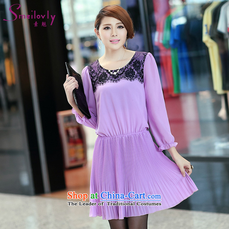 So clearly to xl female thick mm2014 early autumn replacing Korean thick sister lace video thin long-sleeved like Susy Nagle dressesS2643elegant purpleXL