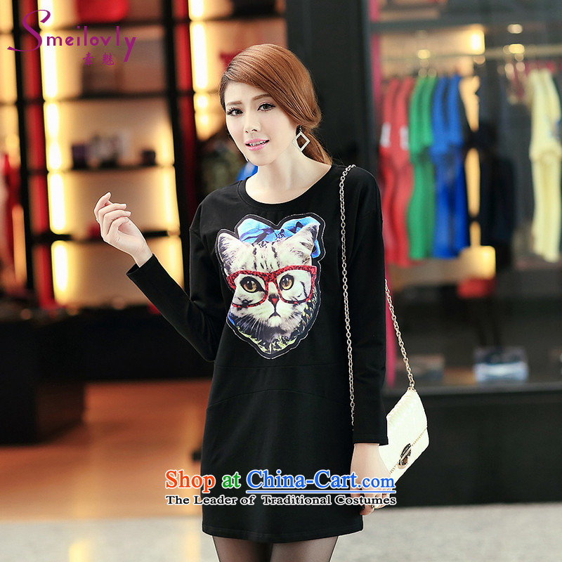 So clearly to xl women 200 catties mm2014 thick autumn boxed version Korea kitten alike stamp loose cotton long-sleeved dressesS2690black2XL