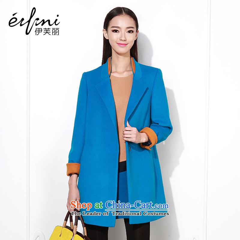 Of the 2015 Winter New Lai in long position female wool coat female gross?? jacket female Korean 6480847218 Peacock BlueL