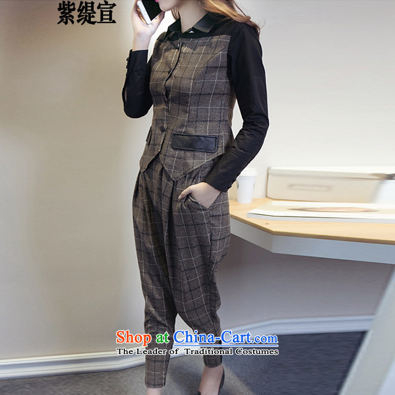 The first declared as thick mm to increase women's code during the spring and autumn new Korean Sau San two kits long-sleeved shirt shirt + Harun Pants length pants7354_ Brown2XL around 922.747 Paras. 135-145
