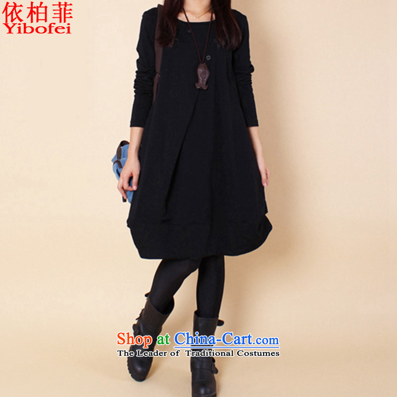 In accordance with the new 2015 perfect Fat MM to xl very casual creases round-neck collar long-sleeved dresses Y112 female black XXL_170-185 catties_