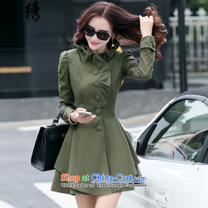 Van Gogh 2015 autumn and winter embroidered new Korean Sau San Sau San l dresses 0187 female army green  XL