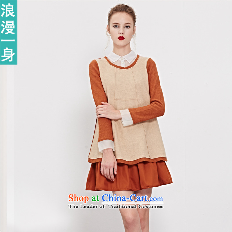 A romantic RMEO_ autumn 2015 replacing stylish art party for long-sleeved spell colored false two T-shirt 8331112 gross? brown?XL