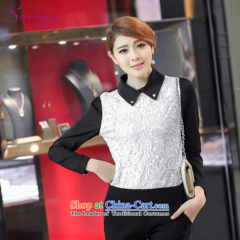So clearly to xl female thick mm autumn 2014 new boxed lapel of long-sleeved shirt stitching lace shirt videopicture color3XL thin 6133