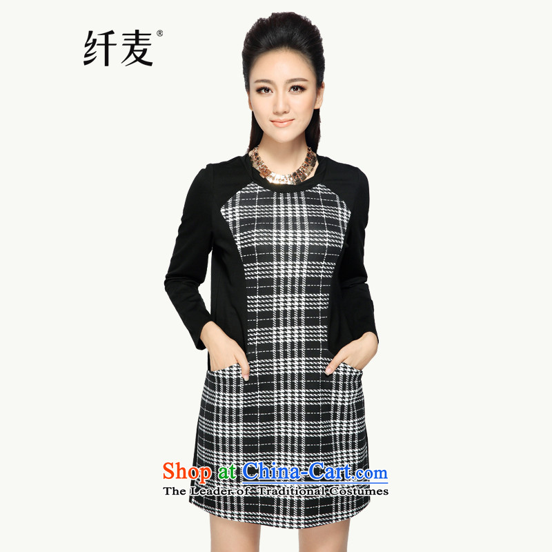 The former Yugoslavia Migdal Code women 2015 Autumn new women's new mm thick english style tattoo long-sleeved video large thin dresses43360BlackXL