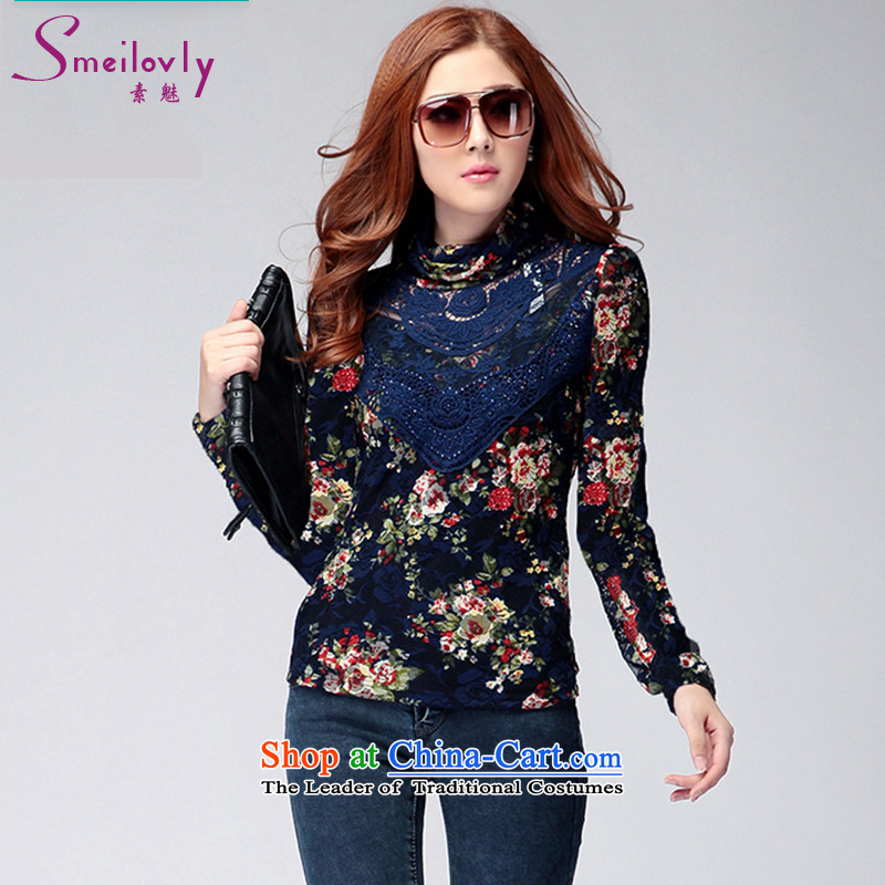 The Director of the women's xl thick mm 2014 Fall_Winter Collections fashion lace stamp diamond high collar plus lint-free T-shirt shirt women forming the6137BlueM