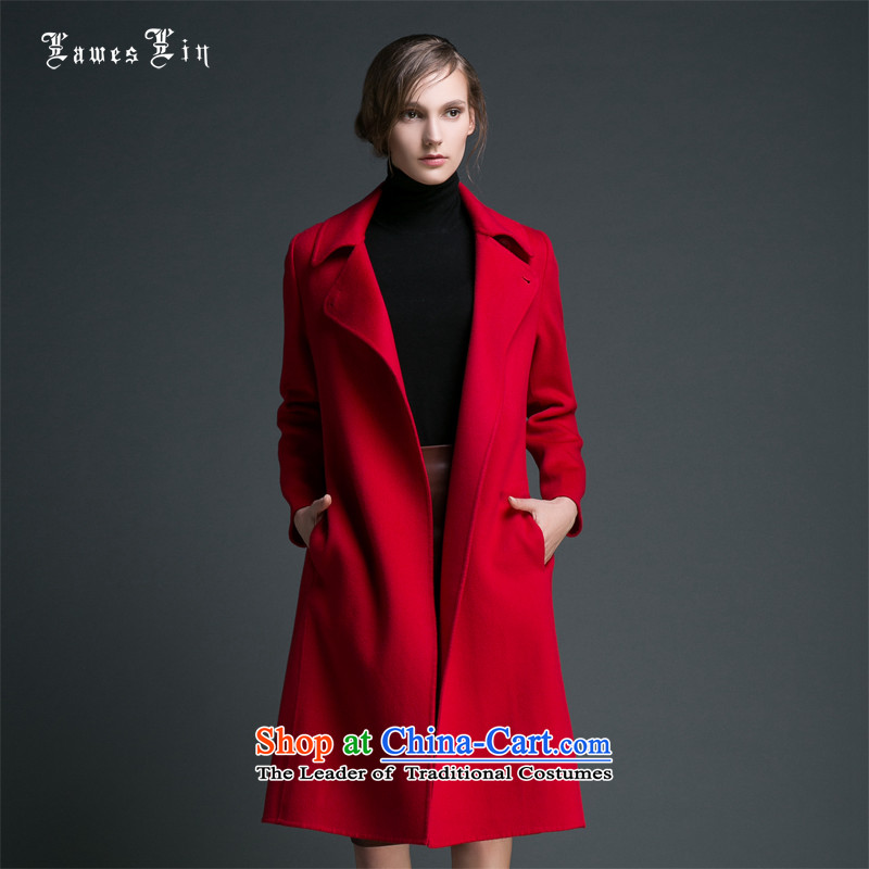 Laweslin Levitte Silin 2015 autumn and winter New Pure cashmere overcoat manual two-sided female hair? jacket temperament high-end long, elegant red cloak S