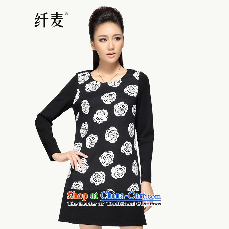 The former Yugoslavia Migdal Code women 2015 Autumn replacing thick mm floral zipper dresses 433663XL Black and White