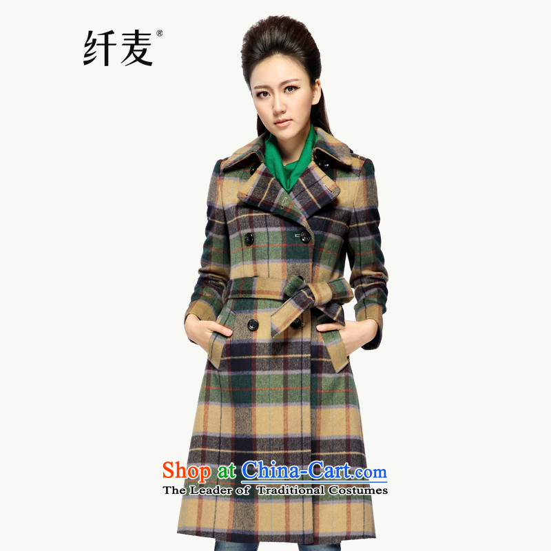 Yugoslavia 2014 autumn and winter, Mr large female cashmere overcoat so gross latticed Sau San�215爇haki燲XXXL