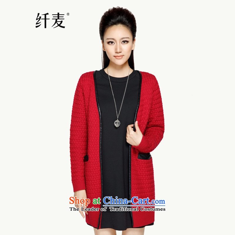 The former Yugoslavia 2015 Autumn Load New Mak, large open up women's V-Neck Knitted jacket YF-14025 mm thick red 3XL