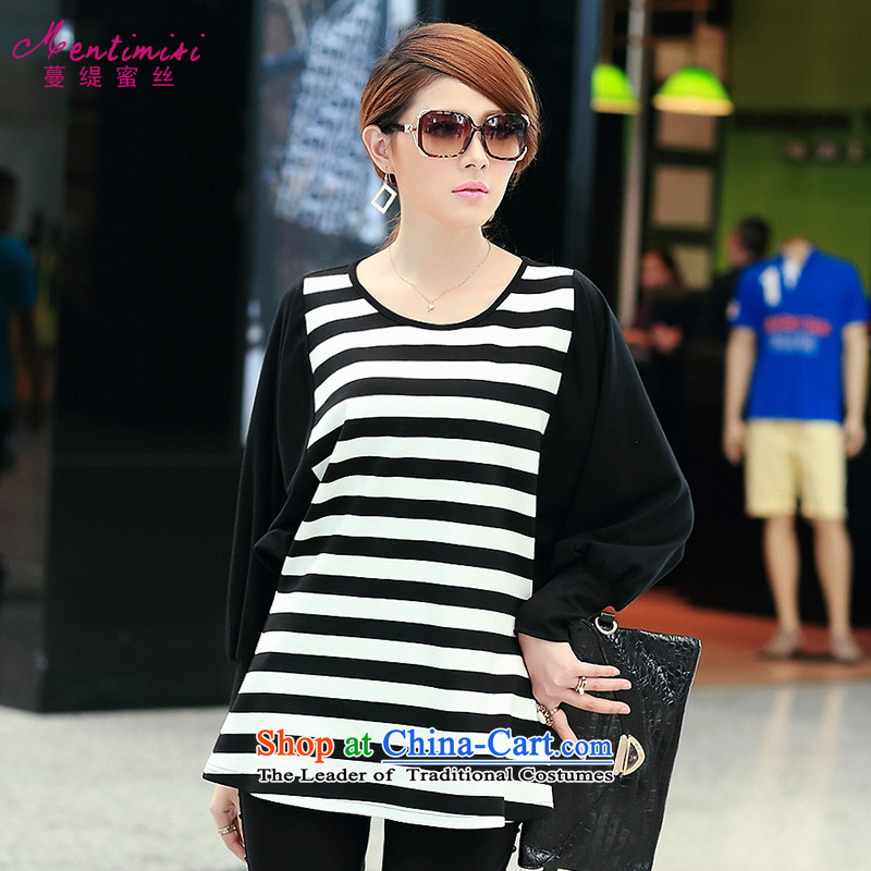Overgrown Tomb economy honey population to increase women's code thick mm autumn 2014 New Korea boxed version in the bat sleeves long stripe long-sleeved T-shirt cotton2694Black Large XL