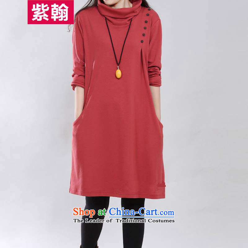 The first燼utumn 2015 Hon Albert Jinghan new Korean version of thin large female high-collar long-sleeved thick MM leisure relaxd temperament dresses female red燲XL