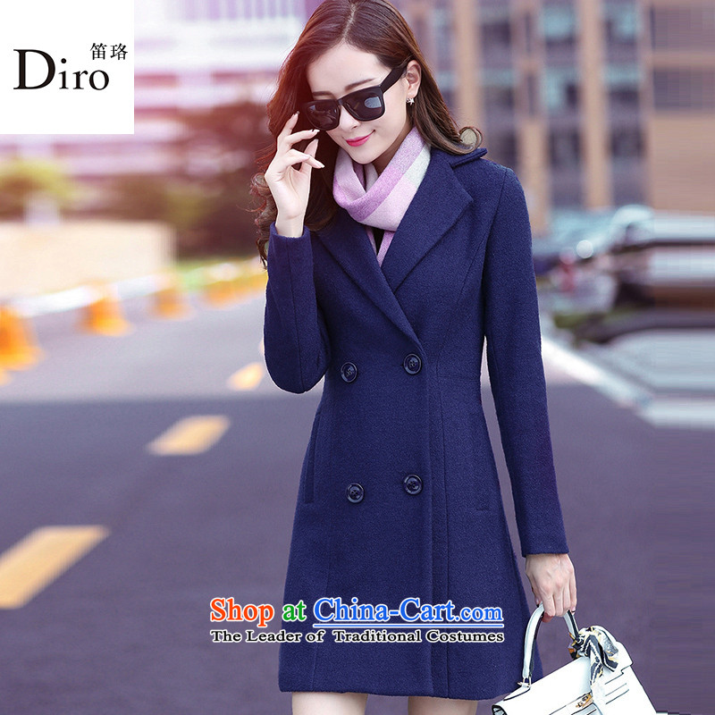 The Institute made the 2015 New Women's jacket coat Korean female hair? Edition long lapel a woolen coats women MN2021? Navy S