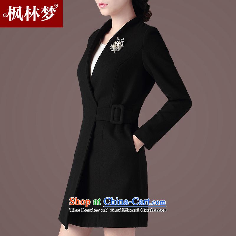 Fenglin dream 2015 autumn and winter new women's gross Korean OL?   in the jacket long large wool coat FB63? black燣