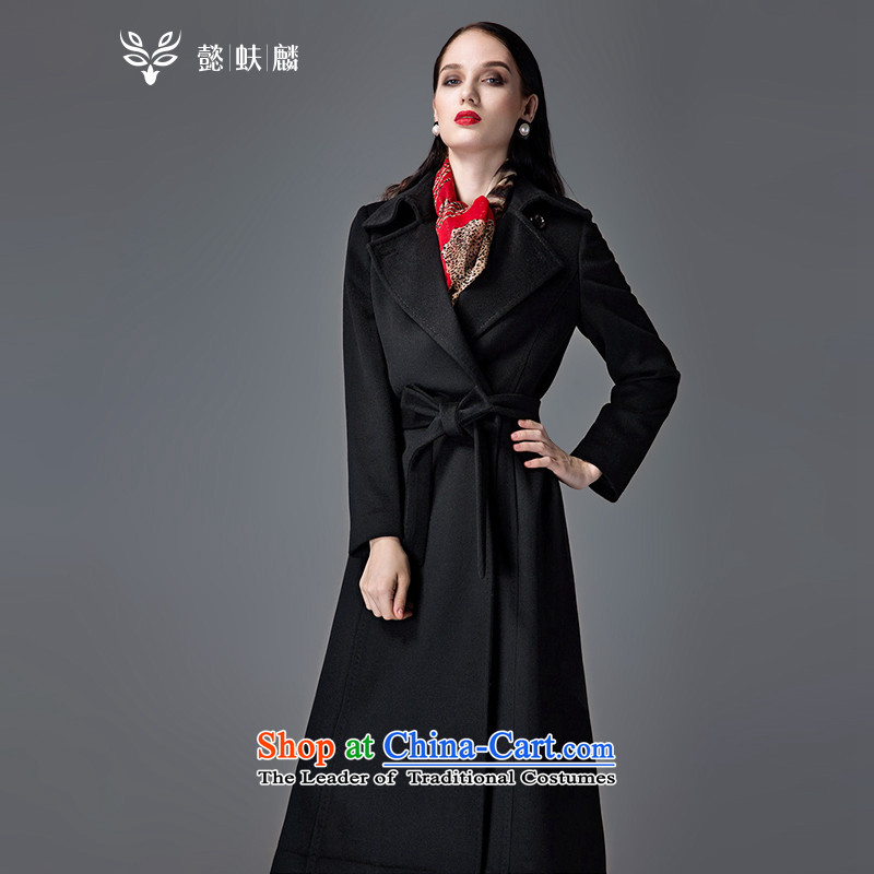 Thus Chu cashmere overcoat headquarters female winter 2015 new autumn and winter coats of Sau San Mao? Genuine high-end double-woolen coat in long black燣