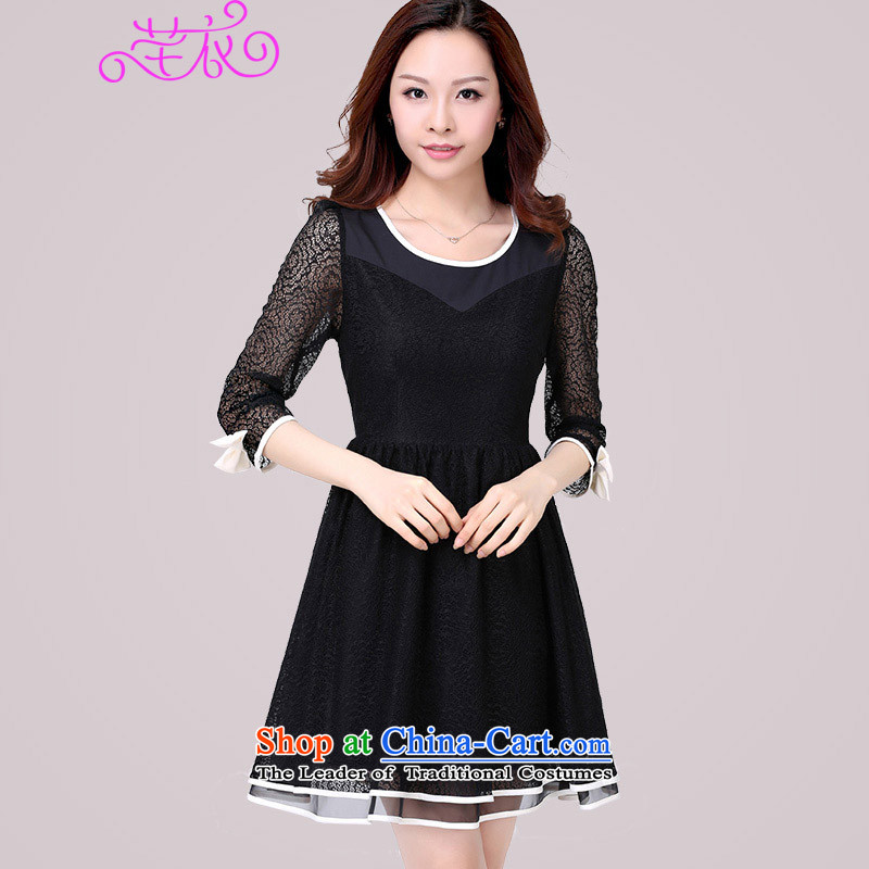 The Constitution to increase women's code2015 Spring New lace in cuff video thin thick mm Foutune of Korean sexy beauty elegant ladies black skirt suits120-135 2XL catty