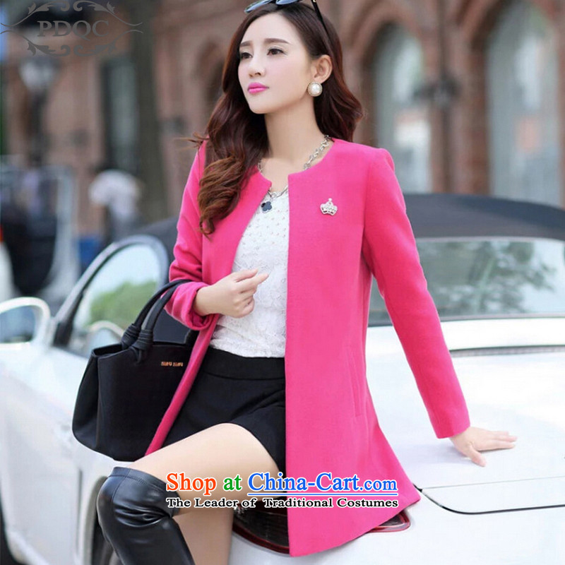 2015 Autumn and winter new PDQC gross female Korean jacket?   Graphics thin a wool coat leisure simple long cardigan jacket girl in red聽M