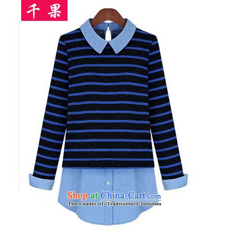 Thousands of fat XL COGA New Korea long-sleeved shirt relaxd version Sau San Fat MM mount autumn shirts leave in two long loose leave two video thin T-shirt 541 Black + Blue BarM