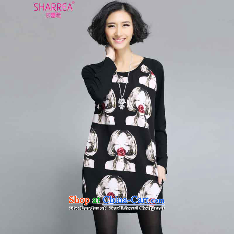 Sarah ya 2015 new stamp in the large long loose dress3XL 0350 round-neck collar