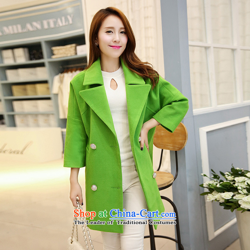 Michelle Gellar of gross? a wool coat female jacket Korean version 2014 autumn and winter spring and autumn, the new girls who are wild lapel jacket coat autumn load? green燲XL
