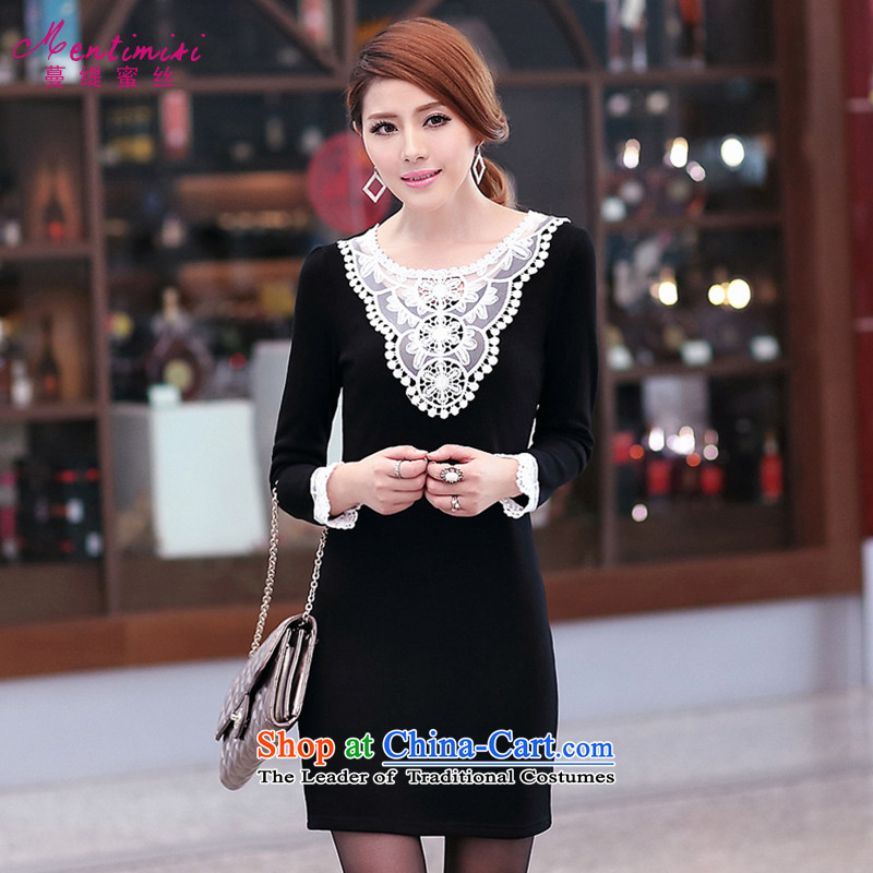 Overgrown Tomb economy honey population to increase women's code thick mm2014 autumn and winter load new lace stitching plus lint-free long-sleeved video thin dresses�03燘lack Large code 3XL plus lint-free thick
