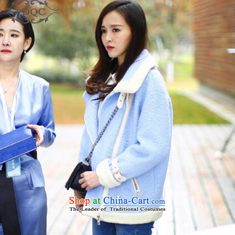 2015 Fall_Winter Collections PDQC lovers in Accra Tang-m flower with stars light blue locomotive a wool coat Stylish coat female pictures gross? color燲L