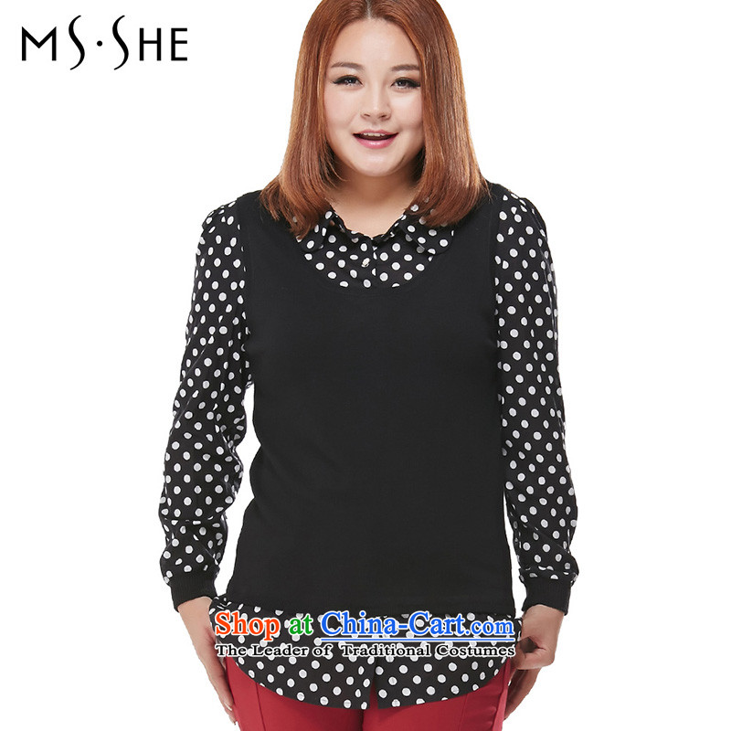 Msshe xl women2015 Autumn new graphics thin stitching leave two Sleek and versatile Long-sleeve 7913 Black4XL