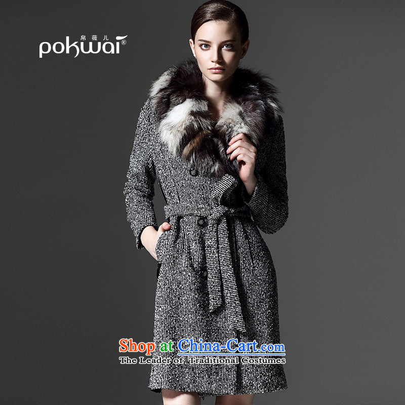 8Ms Audrey EU-2015 winter new nuclear-thin graphics Sau San Washable Wool Sweater gross? female a wool coat Gray燣