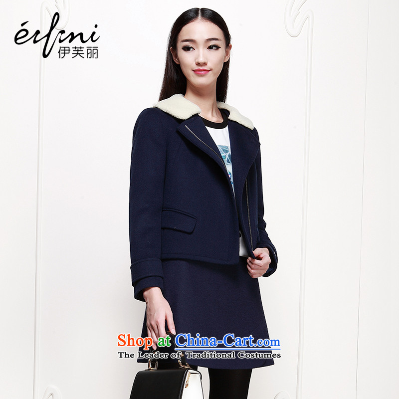 El Boothroyd 2015 winter clothing new Korean woolen coat long-sleeved jacket is short of _6480937107 navy blue XL