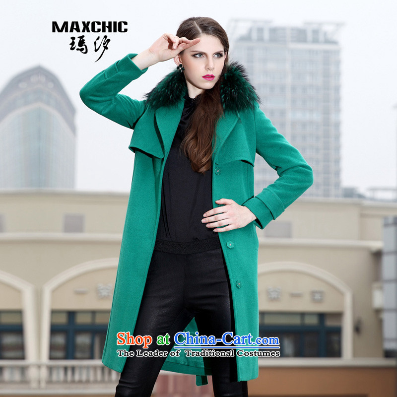 Marguerite Hsichih maxchic 2015 autumn and winter female who need the clipping decoration bag strap on the Nagymaros washable wool coat female燽ug 12762?爂reen燲L