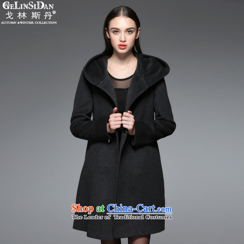 The Goring Dan counters genuine Western cashmere overcoat smart casual female HOODIERD012XXL/110 black with gray
