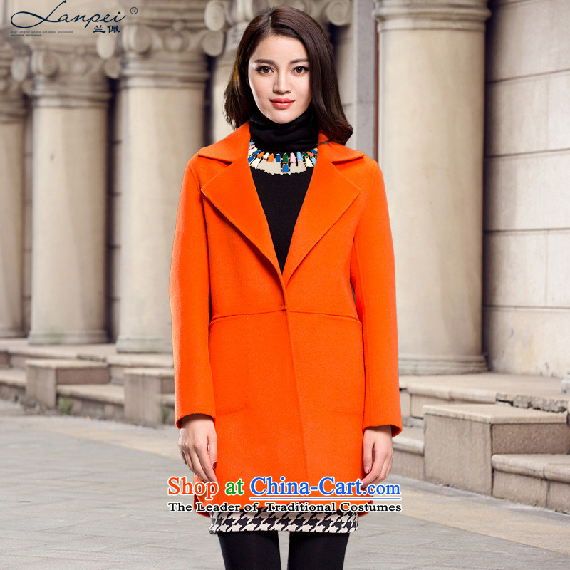 Ho Pui聽2014 Fall_Winter Collections new suit for long coats female wool gross? jacket sided flannel woolen coat orange聽L