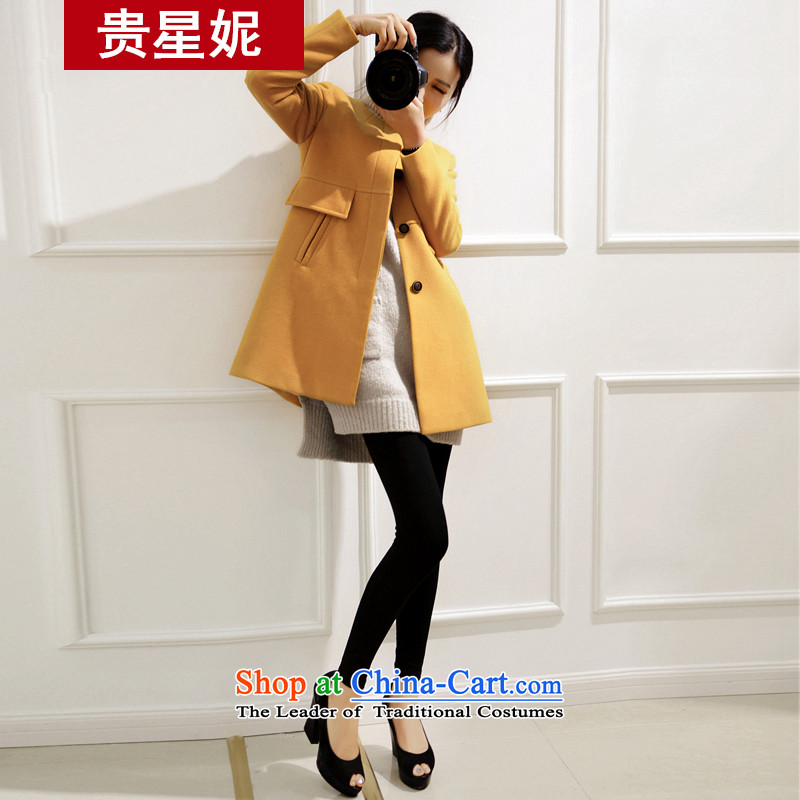 The Star Ni 2015 Fall_Winter Collections new Korean citizenry elegant a wool coat in the long graphics thin hair so Sau San jacket female yellow聽L