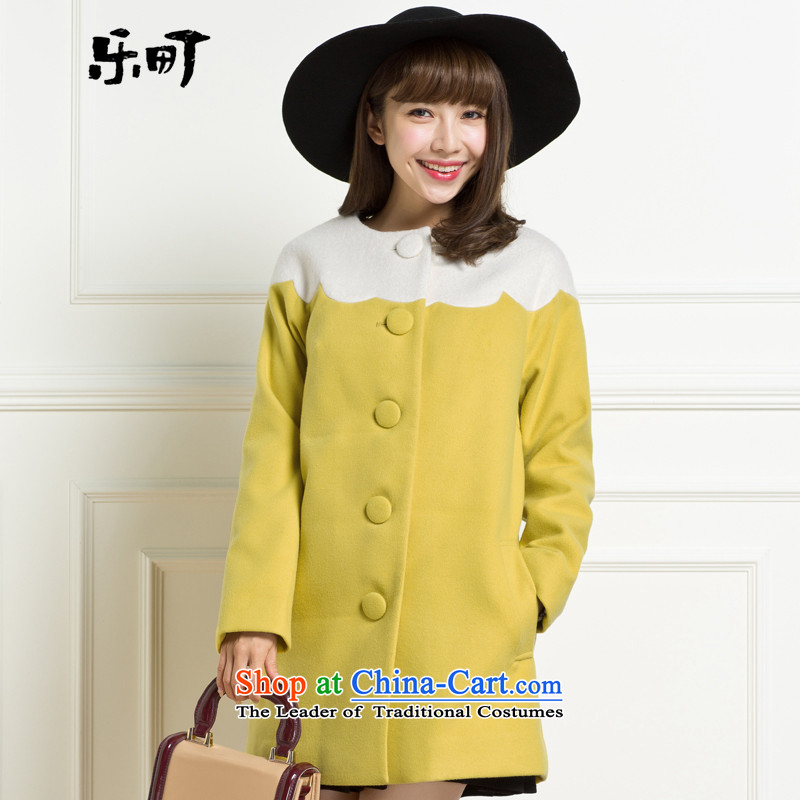 Lok-machi 2015 winter clothing new date of female crescent edge stitching coats CWAA44163 YELLOW燣