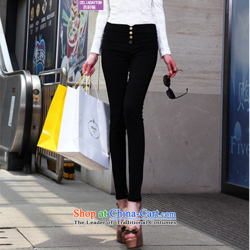 Szili Clinton larger female pants 2015 autumn and winter thick thick mm to intensify the high elastic waist trousers leisure pencil trousers wild little black trousers, forming the trousers without燲XXXL lint-free